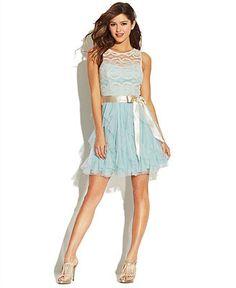 Teeze Me Juniors' Lace Ruffled Dress - Juniors Prom Dresses - Macy's