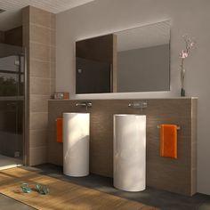 modernes badezimmer weiße möbel graue wände dekor pflanzen foto ...