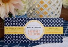 navy and yellow bridal shower invite
