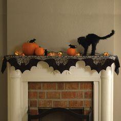 Halloween/Fall:  Bats Spiderweb Black Lace Mantel Scarf