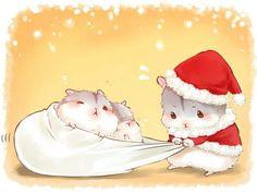 animal blush christmas hat nobody orange original santa_costume santa_hat sleeping wink yutaka_kana Hamster Kawaii, Baby Hamster, Kawaii Chibi, Cute Chibi, Kawaii Art, Anime Chibi, Hamster Cartoon, Cute Animal Drawings, Kawaii Drawings