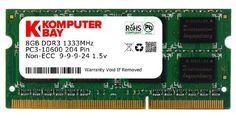 Komputerbay 8GB PC3-10600 10666 1333MHz SODIMM 204-Pin Laptop Memory 9-9-9-24 Single 8GB Stick for PC only - not MAC This Memory will not work in Apple Mac computers - only in PC (Sony/Dell/HP/Compaq/ASUS/Lenovo/IBM/MSI/etc.) with Intel or AMD Processors. If you need Mac Memory - please refer to ASIN: B009GYVIAW. Well Tested. Non-ECC Non parity Unbuffered. Voltage 1.5V... #Komputerbay #PC_Accessory