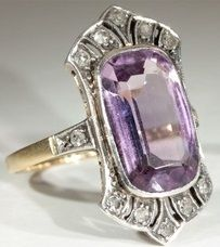 Gold and Platinum Edwardian Amethyst and Diamond Ring, ca.1910