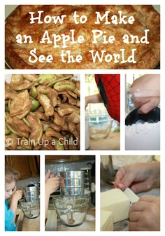 "Making an apple pie after reading the book ""How to Make an Apple Pie and See the World"" and other hands on learning activities for an apple unit study."