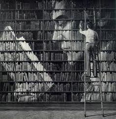 This is really cool! Book shelf Art