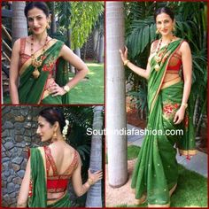 143eac122f94e5 Shilpa Reddy has donned some trendy blouses with silk traditional sarees.  Here are a few such trendy blouse designs of Shilpa Reddy with silk sarees