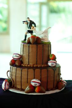 In honor of the 6 nations...Rugby theme wedding cake!