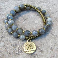 Serendipity, genuine labradorite 27 bead wrap mala bracelet – Lovepray jewelry