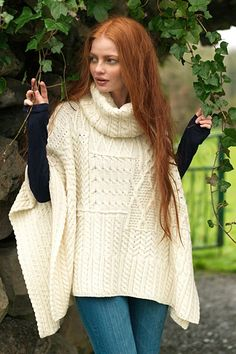 Carraig Donn Irish Aran Wool Sweater Womens Cable Knit Patchwork Cowl Neck Cape Poncho Sweater
