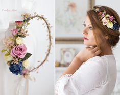 Braut Blumenkranz Hochzeit Haarband Blumen Haarschmuck Elfenkrone in pink , Boho - Hippie Kopfschmuck Haar Blüten, Stirnband