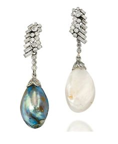 A PAIR OF NATURAL FRESHWATER AND NATURAL ABALONE BLISTER PEARL AND DIAMOND EAR PENDANTS