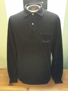 Vintage Unisex Polo Sport Solid Black Pocketed Long Sleeve by VintageMixWest on Etsy