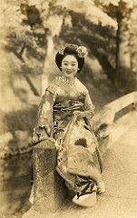 Beside a Wood 1938 (Blue Ruin 1) Tags: park wood bridge japan japanese 1930s kyoto postcard 1938 maiko showaperiod okobo apprenticegeisha hikizuri susohiki kyomaiko hisazuru trailingkimono kyotoapprentice