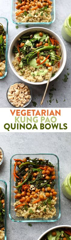 These Vegetarian Kung Pao Quinoa Bowls are the perfect meal prep recipe to make so you can enjoy a healthy lunch or dinner the entire week!    #HealthyEating #CleanEating Sherman Financial Group