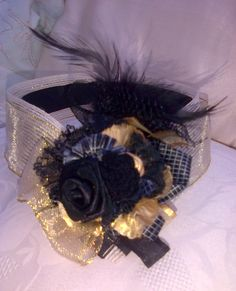 Vintage style Black and Gold Headpiece