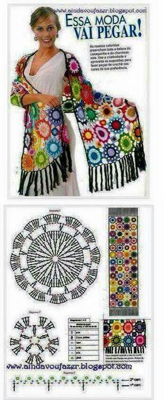 Chal colorido a crochet