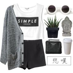 simple by bambikisses on Polyvore featuring Chicnova Fashion, Monki, H&M, Acne Studios and Alöe
