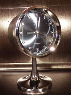 Rhythm-clock-alarm-chrome-tulip-reveil-tulipe-70-039-s-vintage-japan