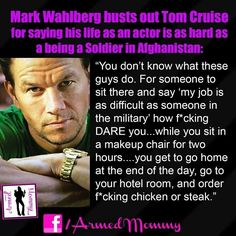 You know you have to love an actor that does not forget about humanity and being REAL . Thanks Mark for reminding us that actors can still be human , you are one of the few that still respect the military