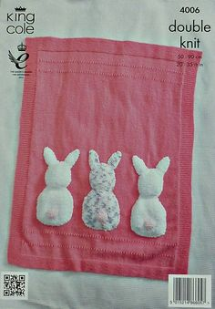 K4006 Babies Cot Blanket with three Bunny by KnittingPatterns4U