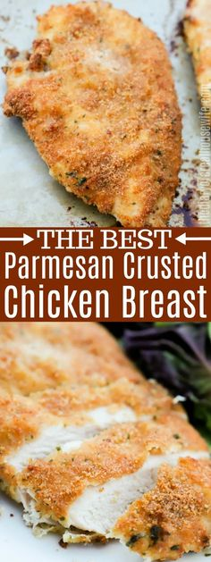 This Parmesan Crusted Chicken is the perfect way to dress up your chicken with some new flavors. It's coated with bread crumbs, parmesan, t. Parmesean Crusted Chicken, Oven Baked Chicken Parmesan, Oven Chicken, Baked Chicken Breast, Baked Chicken Recipes, Chicken Breasts, Chicken Tenders, Breaded Chicken Alfredo Recipe, Parmesan Crusted Chicken Breast Recipe