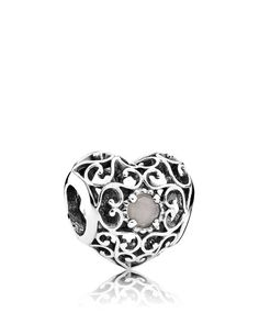 Pandora Charm - Sterling Silver & Moonstone June Signature Heart