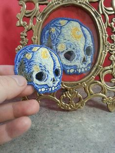 This is not the original Vincent Van Skull patch. this is a mini version of it.  Measurements: 1 3/4 x 2 inches Hand stitched, sew on patch I also include matching string. Each one is handmade and takes time to make especially if i have several orders in line  Only 35 of these will be made. Whatever is left to buy in stock is that last.