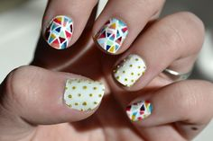Geometric and studded nail art  by LookAtHerNails