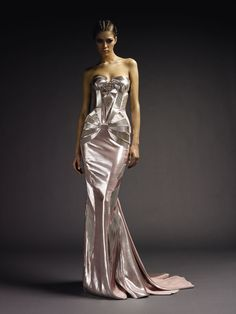 Full View of Beaded Silk Satin Art Deco Design from Versace Atelier F/W 2009-2010, Bodice also Shown on Page.