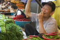 Shin-dong, South Korea Vegetable vendor in Shin-dong- A Fish Market.