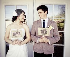 Photo Booth Prop my ORIGINAL Mr & Mrs - Thank You-Double Sided-Wedding Decor Photo Props Sign- Kraft Paper Goods - Set of 2. $9,50, via Etsy.