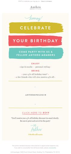 Anthro birthday email 2015