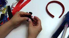 Diademas forradas con cordón de colores y decoradas con flores y lazos f...
