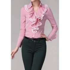 Vintage Polo Collar Stripe Flounce Edge Long Sleeves Shirt For Women