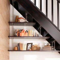Rangements sous escaliers aériens avec ces étagères suspendues
