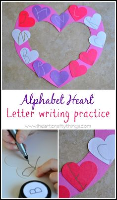 Alphabet heart letter writing practice for Valentine's Day literacy Valentine Theme, Valentines Art, Valentine Stuff, Alphabet Activities, Writing Activities, Kindness Activities, Preschool Writing, Alphabet Crafts, Valentine Crafts For Kids