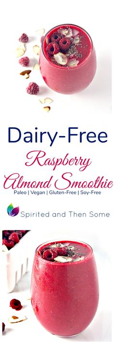 Dairy-Free Raspberry Almond Smoothie contains just 3 base ingredients and is ready in minutes! | spiritedandthensome.com