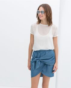 Image 2 of CROSSOVER SKIRT WITH BOW from Zara