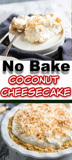 This no-bake cheesecake is coconutty and creamy! This dessert is easy to come together and tastes sweet and delicious! This cheesecake is a must for coconut lovers! Trifle Desserts, Great Desserts, No Bake Desserts, Dessert Recipes, Dinner Recipes, Coconut Desserts, Strawberry Desserts, Cupcake Recipes, Snack Recipes