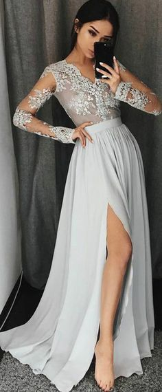 NEW! Gorgeous Chiffon V-neck Neckline Long Sleeves A-line Prom Dress With Lace Appliques STYLE NO.SOD25987
