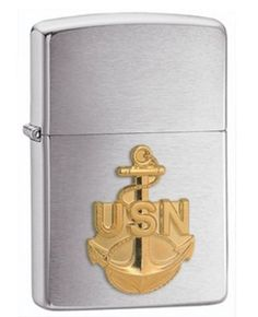 Navy Emblem Brushed Chrome Zippo Lighter