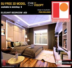 free Sketchup Model elegant Bedroom by Ping Belonio vray interior visopt Modern Villa Design, Modern Bedroom Design, Classic Living Room, Living Room Modern, Classic Sofa, Modern Classic, Antique Dining Chairs, Minimalist Interior, Cool House Designs