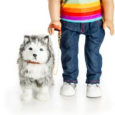 """*Realistic standing Husky Pup features long brush-able fur. *Includes removable brown collar and matching leash. *Comes in a kennel shaped box. Husky is 9""""L x 7 1/2""""H x 4""""W. Molded plastic body with hand-applied, brush-able fur. Dog Halloween Costumes, Cute Teddy Bears, Husky Puppy, Doll Shoes, Diy For Girls, 18 Inch Doll, Doll Accessories, 6 Years, Pets"""