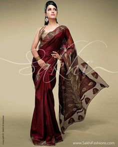 Peacock Kanchi Cut Work Timeless Elegant Kanchivaram silk in deep Maroon featuring traditional peacock inspired motifs on pallu and border, the design is inspired by nature.   http://www.sakhifashions.com/saree/sr0143-peacock-kanchi-cut-work.html
