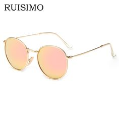 Pink classic Round Sunglasses Women men female brand Metal Frames Mirror  Lenses Sun Glasses For women retro Male oculos de sol   This is an  AliExpress ... 890789e6bc