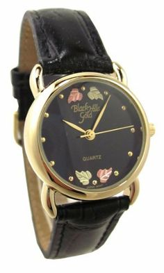 Women's Black Hills Gold Ladies Watch Leather Band Black Face Four 12K Gold Leaves Black Hills Gold. $59.99. Four 12K gold hand engraved leaves. Leather band with heavy 23K gold plate buckle. Black Hills Gold women's watch with round black face. Black Hills Gold is proudly made in the USA!. Lifetime manufacturer's warranty