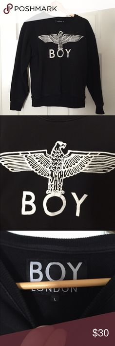 BOY LONDON SWEATSHIRT Black Boy London sweatshirt/sweater in perfect condition! Soft and cozy and breathable. Features the Boy London logo and bird on it. Size large but will fit a medium as well. Boy London Tops Sweatshirts & Hoodies