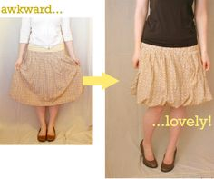 ~Ruffles And Stuff~: Very Easy Skirt Refashion you could do this with any skirt that has a liner, or just add a liner yourself!