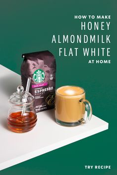 As you would expect with a name like Honey Almondmilk Flat White, this dairy-free take on the classic café beverage bears hints of honey while still being delicious and delectable. Starbucks Menu, Starbucks Recipes, Coffee Recipes, Fun Drinks, Yummy Drinks, Yummy Food, Beverages, New Recipes, Cooking Recipes