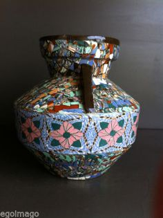 SUBLIME GRAND VASE A ANSES MOSAIQUE signé GERBINO VALLAURIS in Céramiques, verres, Céramiques françaises, Vallauris   eBay